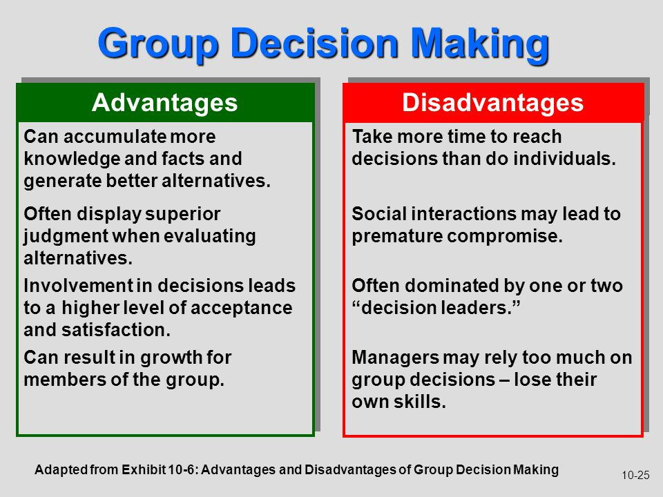 advantages and disadvantages of individual decision making