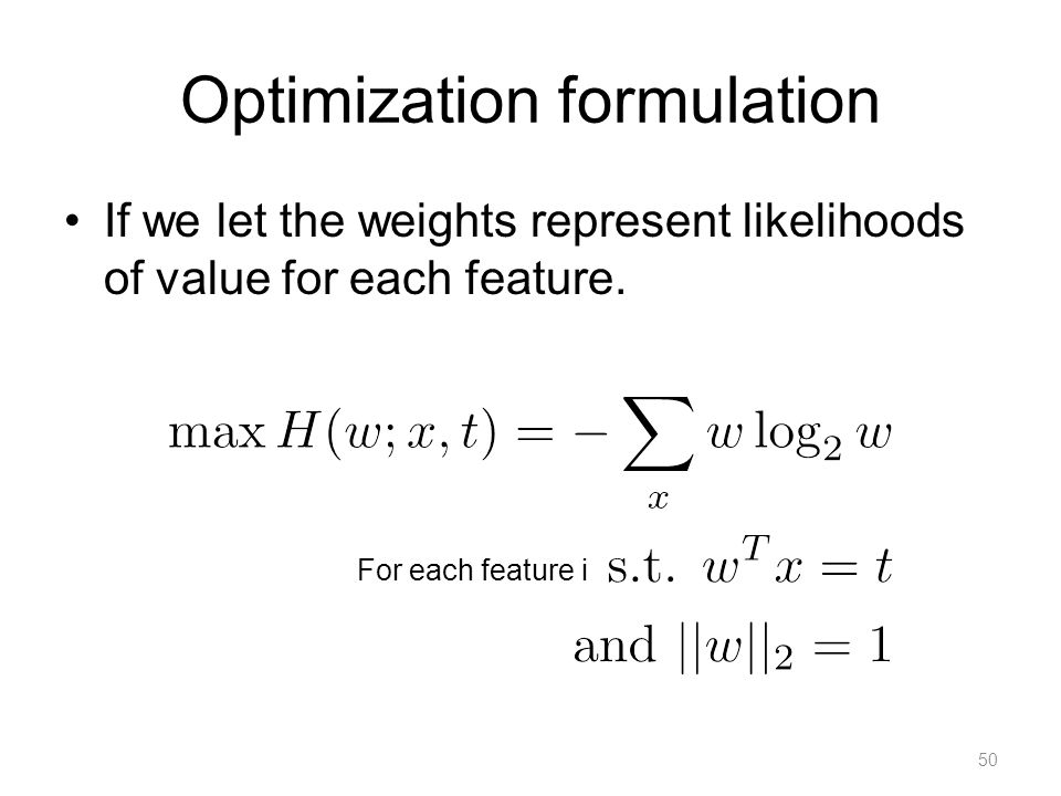 Solving MaxEnt formulation