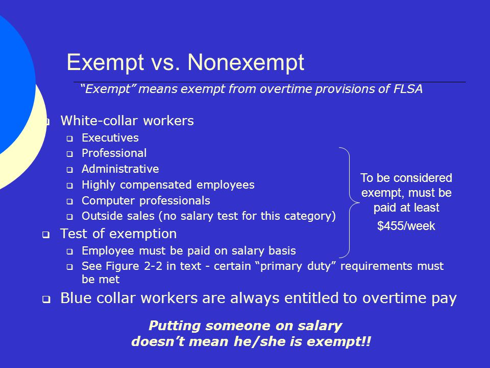 definition of exempt employees