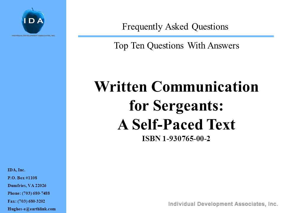 for Sergeants: A Self-Paced Text ISBN 1-930765-00-2