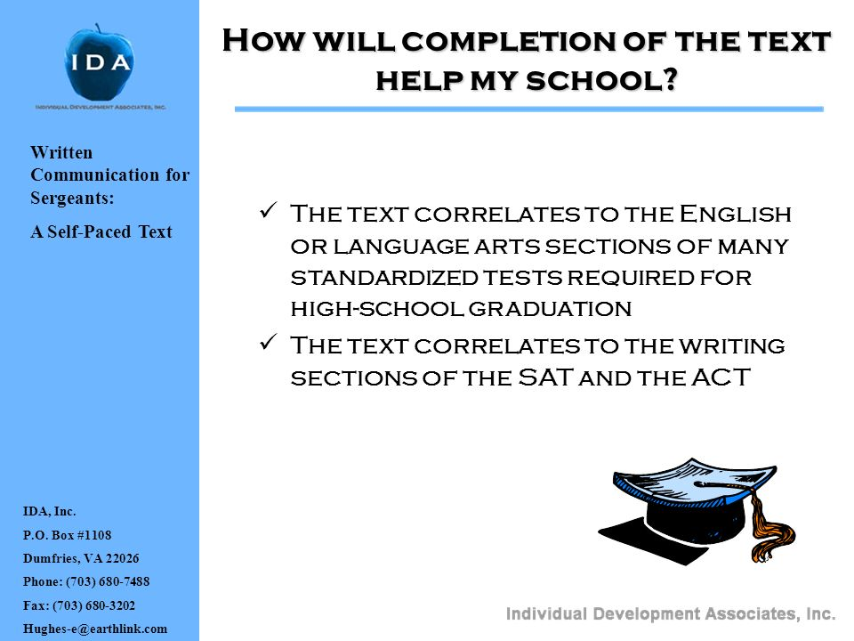 How will completion of the text help my school