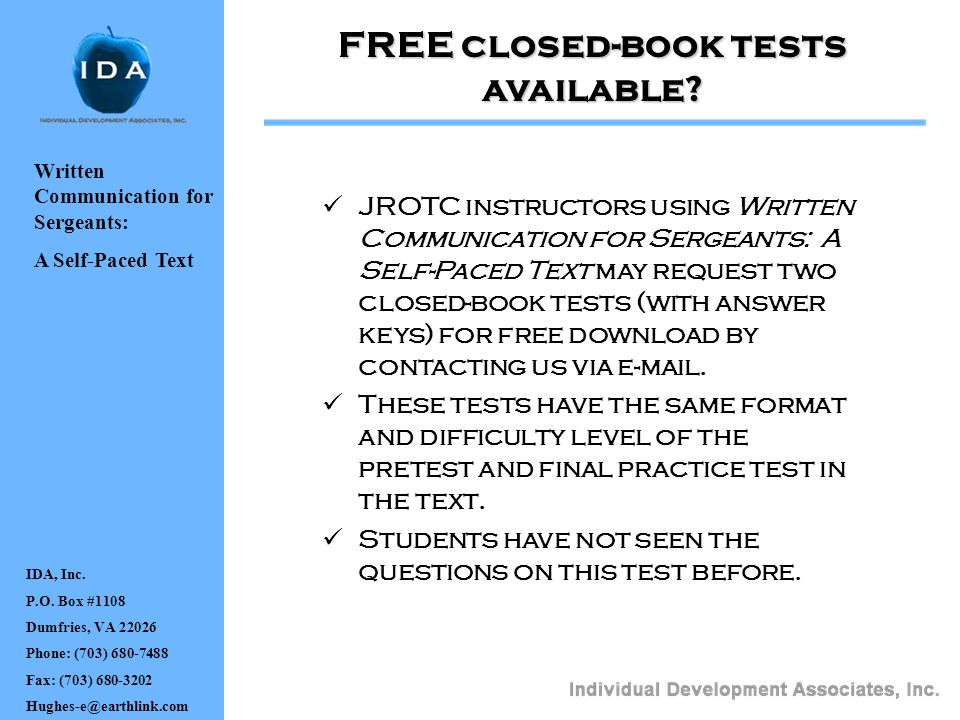 FREE closed-book tests available