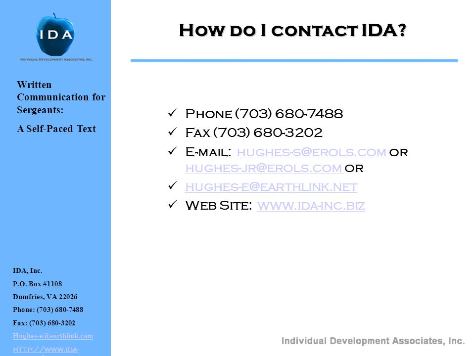 How do I contact IDA Phone (703) 680-7488 Fax (703) 680-3202
