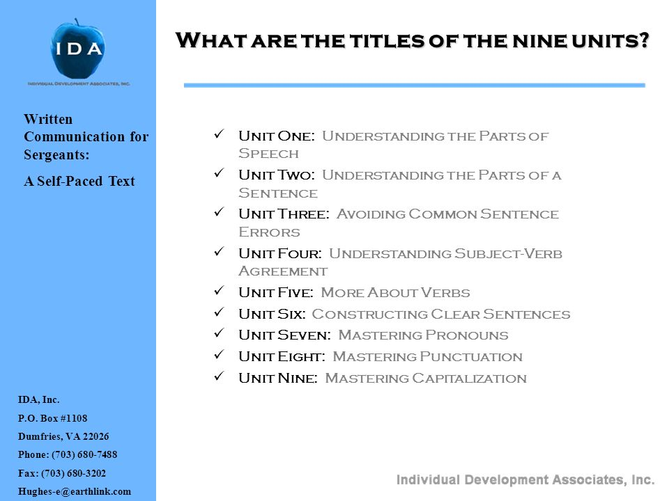 What are the titles of the nine units