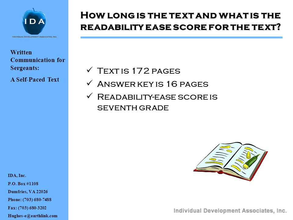How long is the text and what is the readability ease score for the text