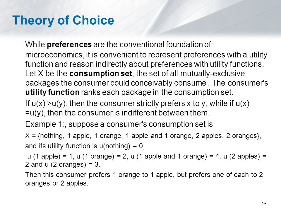 two elements of the theory of consumer choice This paper examines elements of the complex place/role/influence of psychology in the history of consumer choice theory the paper reviews, and then challenges, the standard narrative that psychology was 'in' consumer choice theory early in the neoclassical revolution, then strictly â.