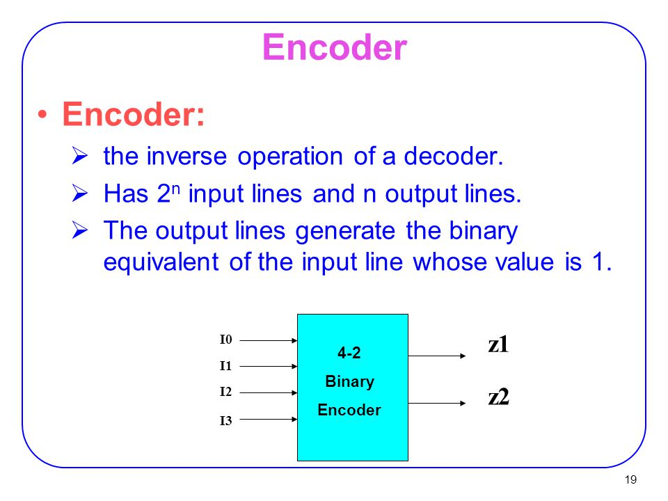 Encoder Encoder: the inverse operation of a decoder.
