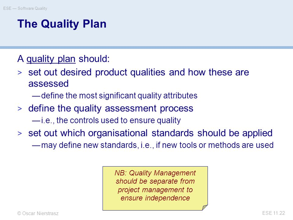 attributes of a project quality plan pdf