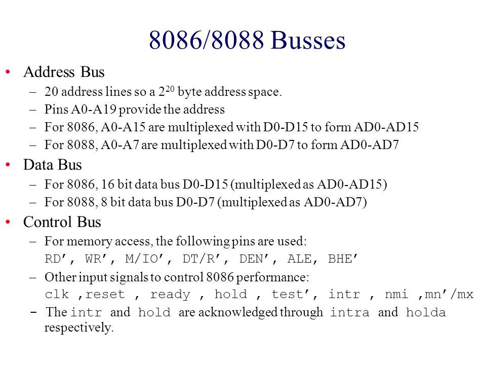 8086/8088 Busses Address Bus Data Bus Control Bus