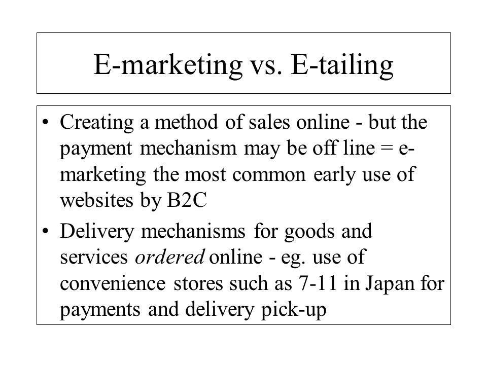 E-marketing vs. E-tailing