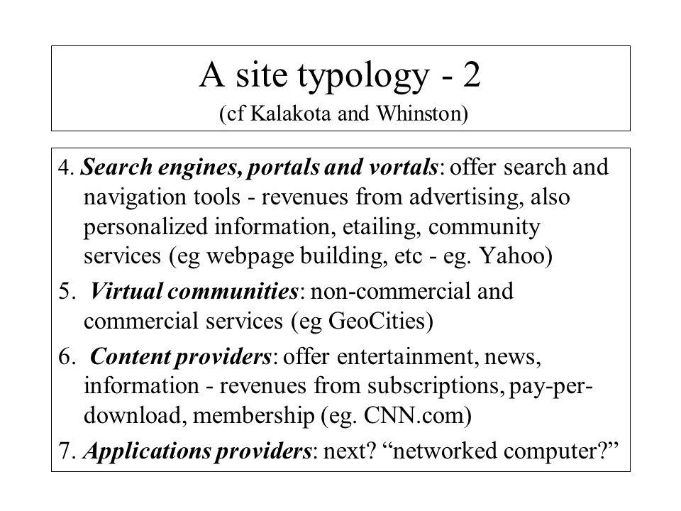 A site typology - 2 (cf Kalakota and Whinston)