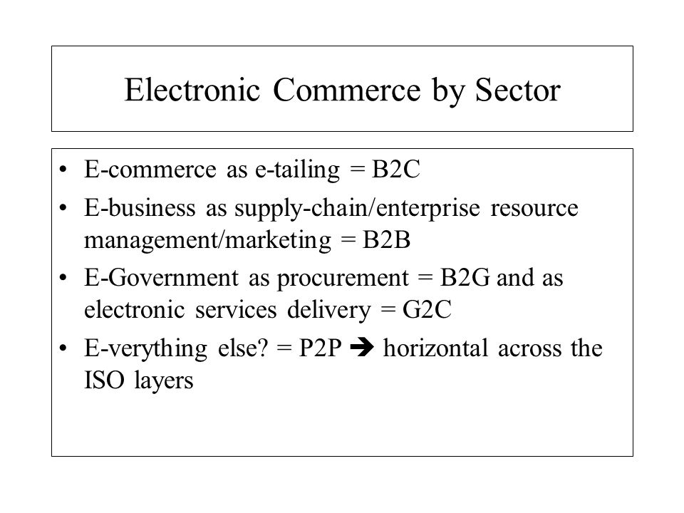 Electronic Commerce by Sector