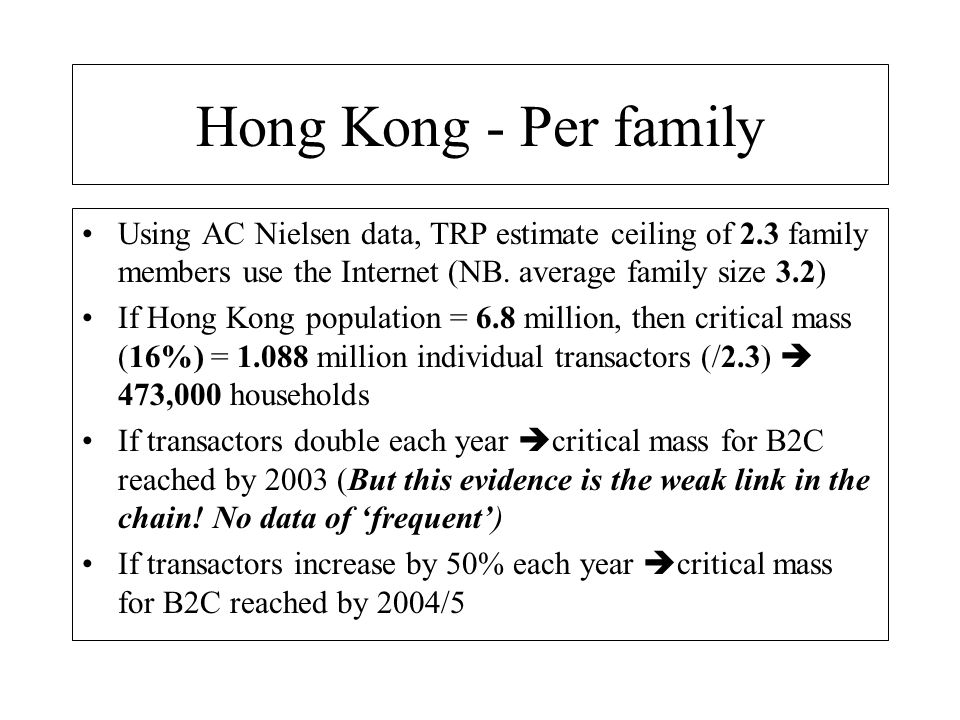 Hong Kong - Per family Using AC Nielsen data, TRP estimate ceiling of 2.3 family members use the Internet (NB. average family size 3.2)