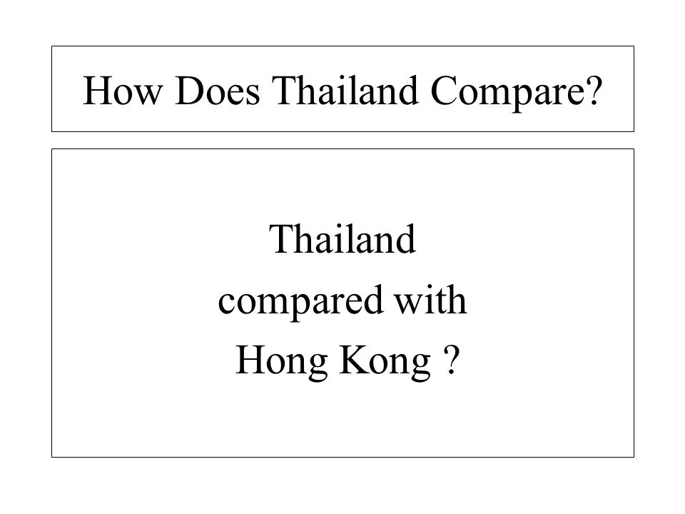 How Does Thailand Compare