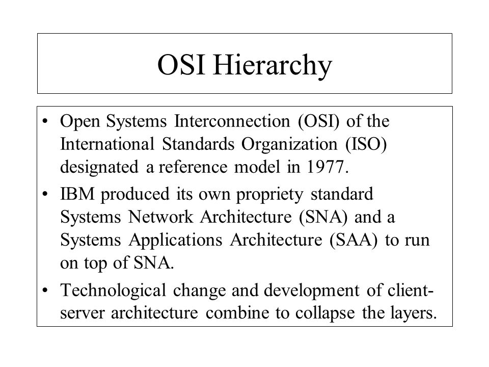 OSI Hierarchy Open Systems Interconnection (OSI) of the International Standards Organization (ISO) designated a reference model in 1977.
