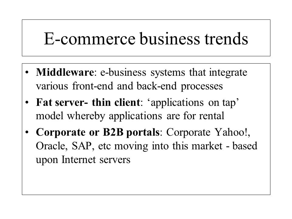 E-commerce business trends