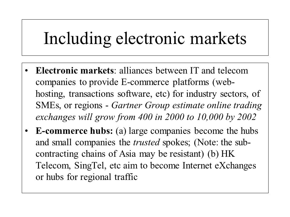 Including electronic markets