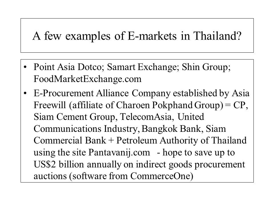 A few examples of E-markets in Thailand