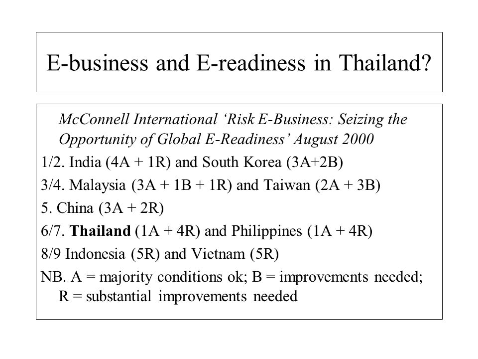 E-business and E-readiness in Thailand