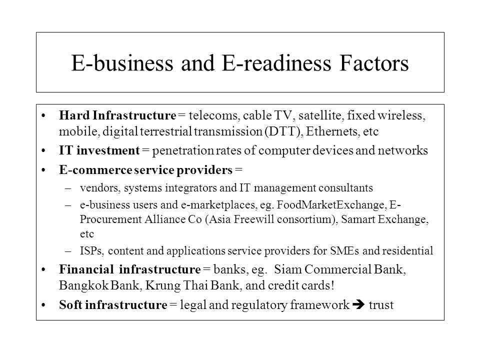 E-business and E-readiness Factors