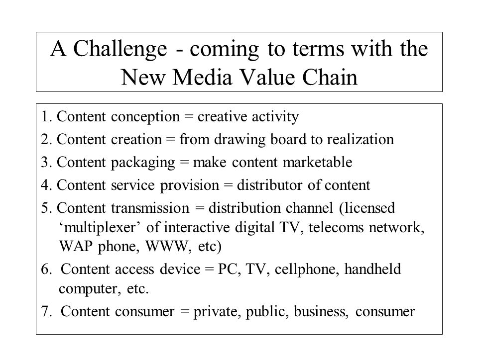 A Challenge - coming to terms with the New Media Value Chain