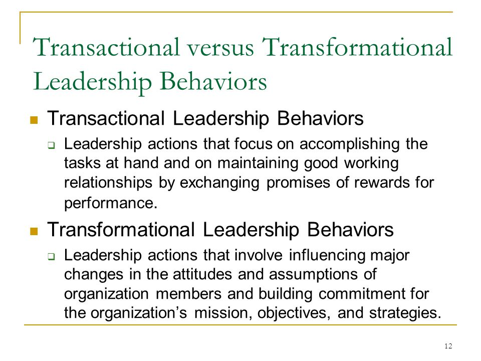 transformational leadership versus transactional leadership a review essay Transformational leadership vs transactional leadership definition by david ingram updated june 29, 2018.
