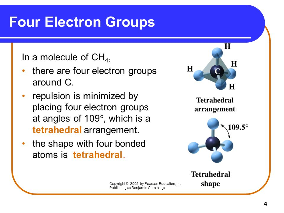 Four Electron Groups In a molecule of CH4,