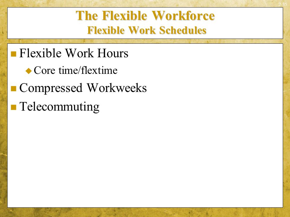 an analysis of the benefits of flextime work schedules Flextime benefits for employees and organizations  more flexible schedules that allow them to vary their arrival and departure times, work compressed weeks, share .