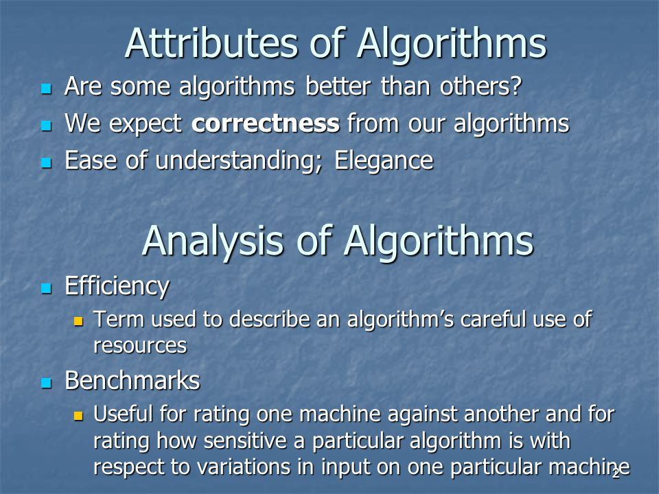 Attributes of Algorithms