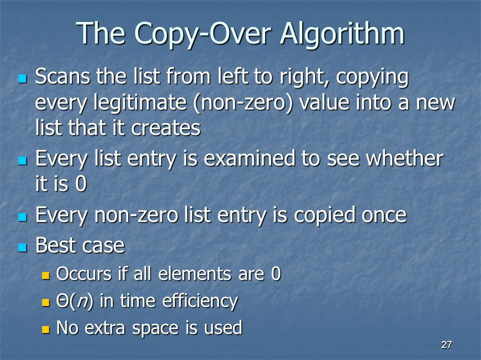 The Copy-Over Algorithm