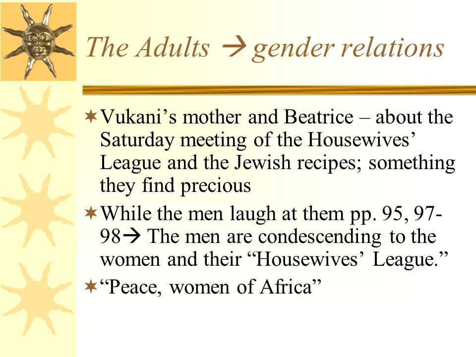 The Adults  gender relations