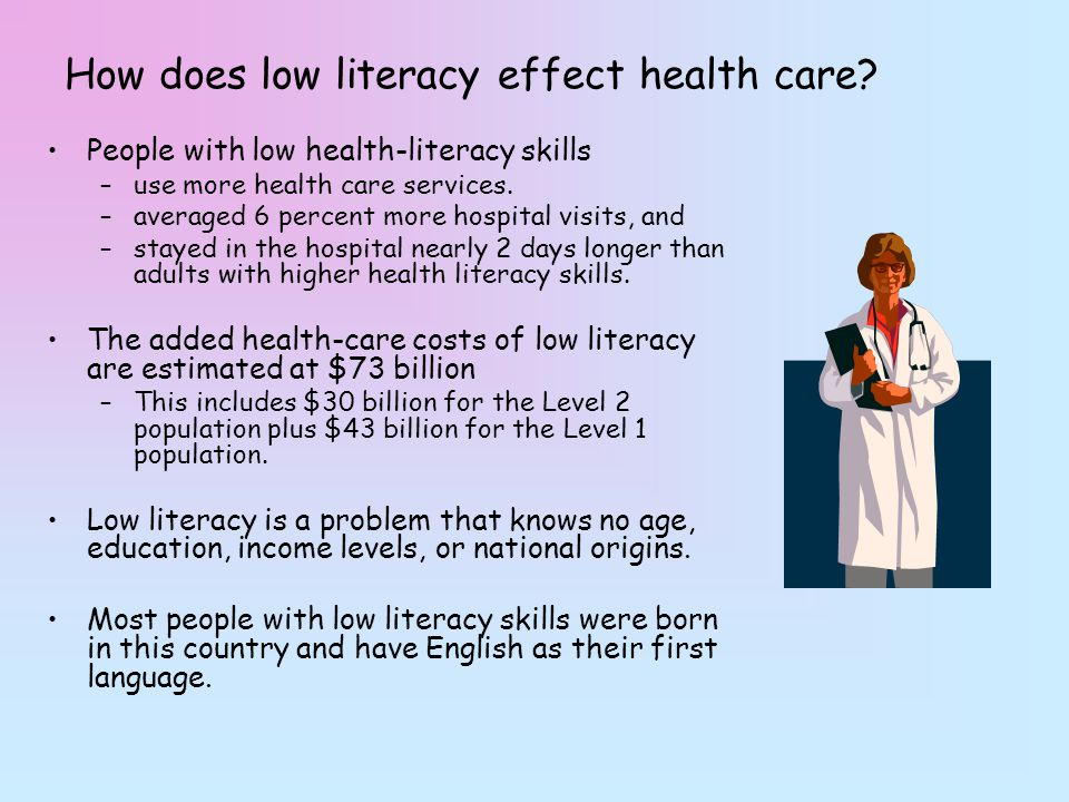 low health literacy It supports academics and health professionals with an interest the field of health literacy toggle navigation welcome about health literacy.
