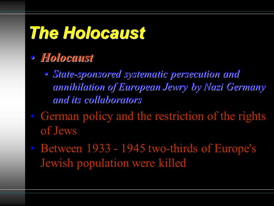 why the european jews were being persecuted in germany between 1933 and 1945 At least 5,000 victims were jews september 21 : heydrich issues directives to establish ghettos in german-occupied poland october 12 : germany begins deportation of austrian and czech jews to poland.