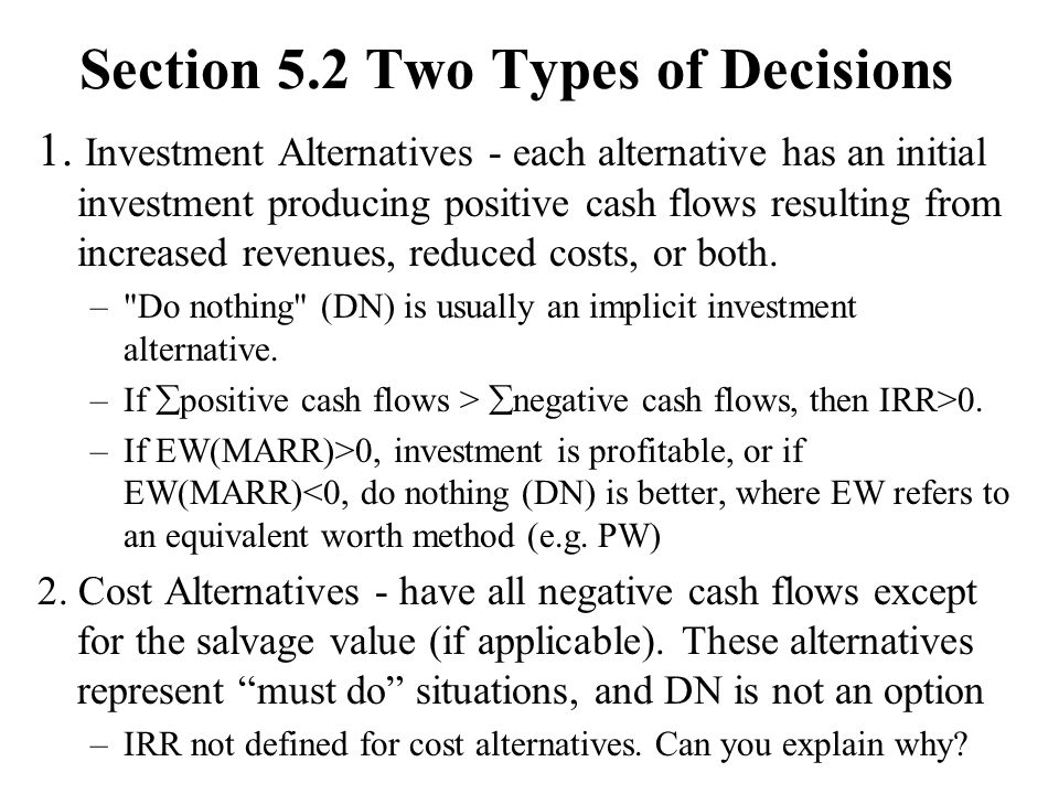 Section 5.2 Two Types of Decisions