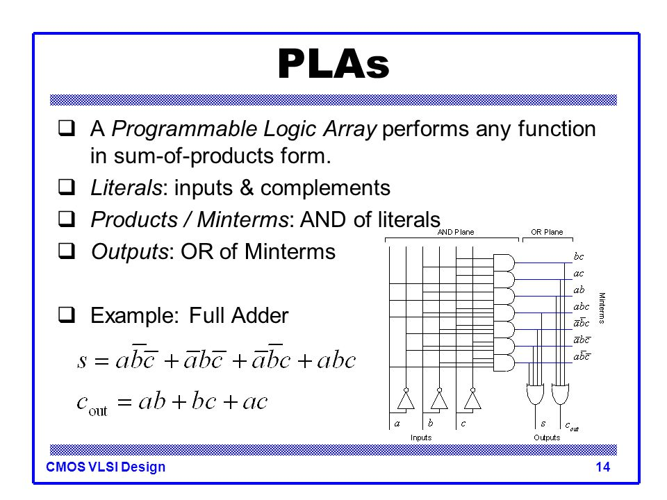 PLAs A Programmable Logic Array performs any function in sum-of-products form. Literals: inputs & complements.