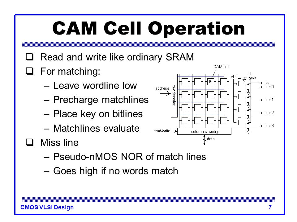 CAM Cell Operation Read and write like ordinary SRAM For matching: