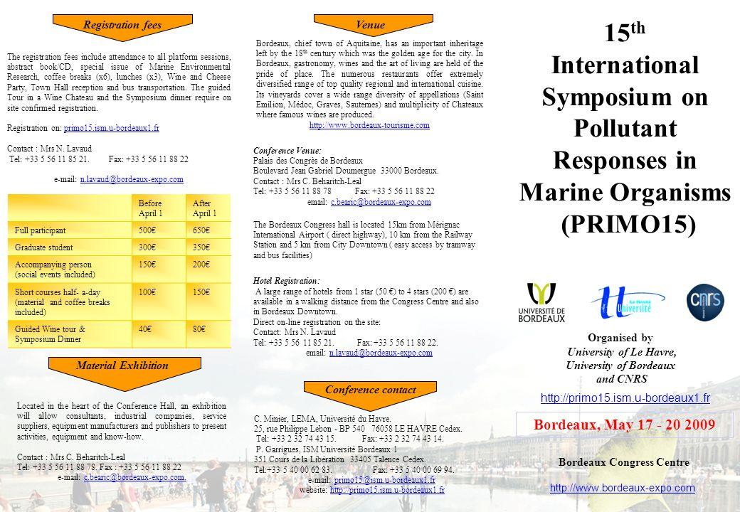 International Symposium on Pollutant Responses in Marine Organisms
