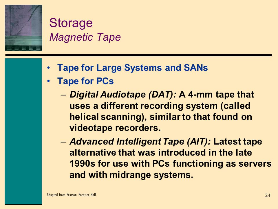 Storage Magnetic Tape Tape for Large Systems and SANs Tape for PCs