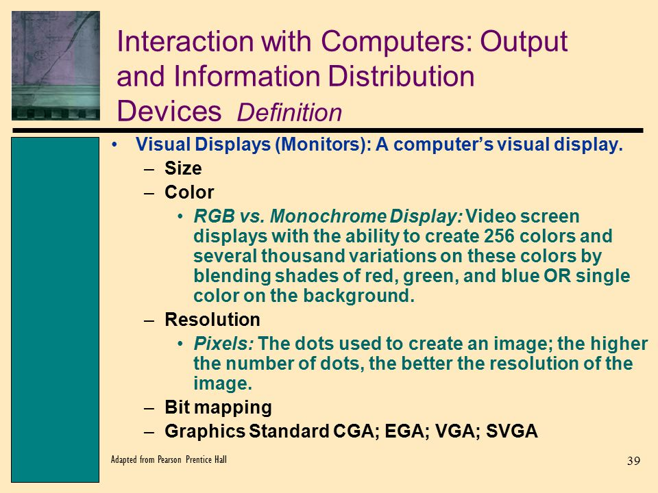 Interaction with Computers: Output and Information Distribution Devices Definition