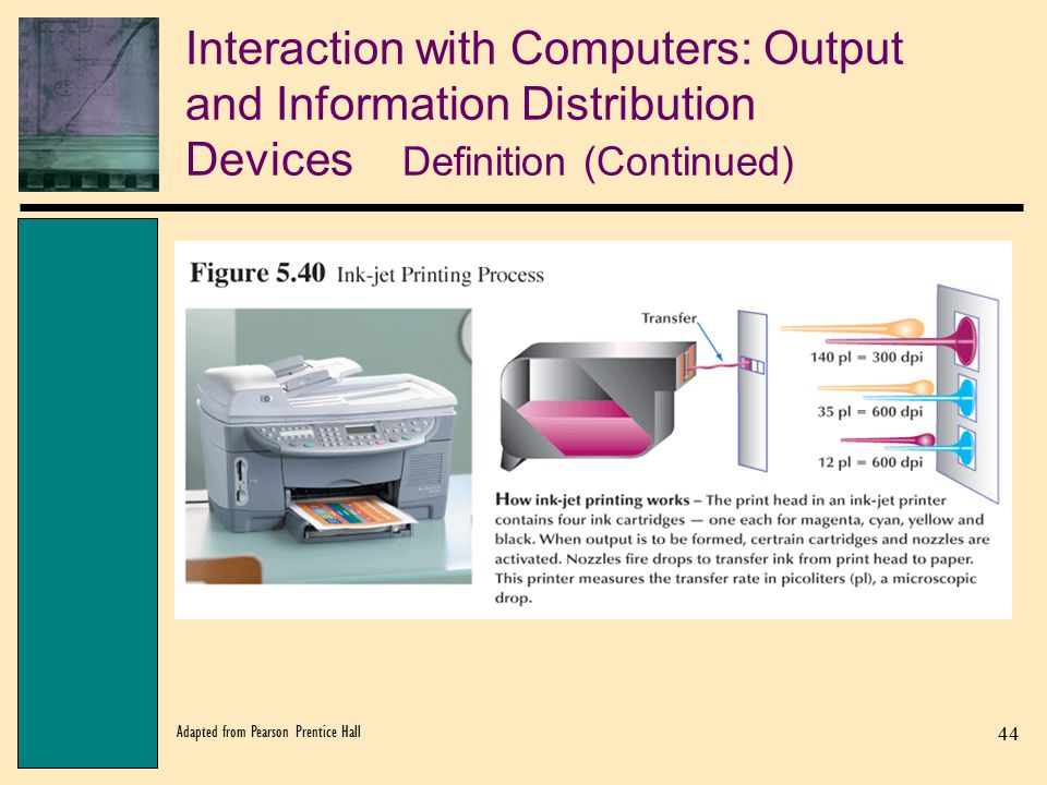 Interaction with Computers: Output and Information Distribution Devices Definition (Continued)