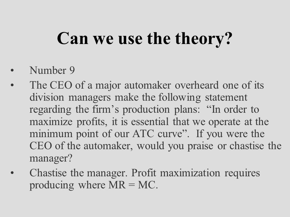 Can we use the theory Number 9