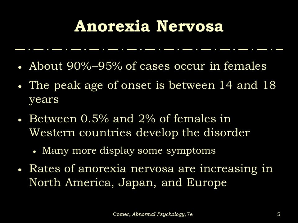 the increasing cases of anorexia nervosa Statistics about eating disorder in general, and specific information about anorexia nervosa, bulimia nervosa, binge eating disorder, and many others.