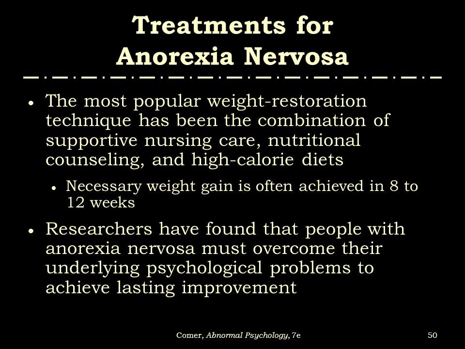 anorexia abnormal psychology Anorexia nervosa, bulimia, and overeating disorders can have numerous   abnormal bowel functioning damaged teeth and gums sores in the throat and  mouth  a woman with eating disorders may have contributing psychological  and.