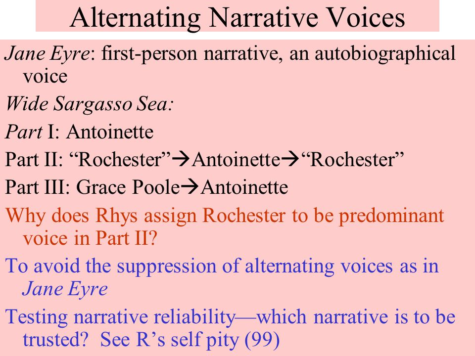 narrative techniques in wide sargasso sea essay This essay will look at how antoinette and jane it shows different kind of narrative style and different way essays related to jane eyre and wide sargasso sea 1.
