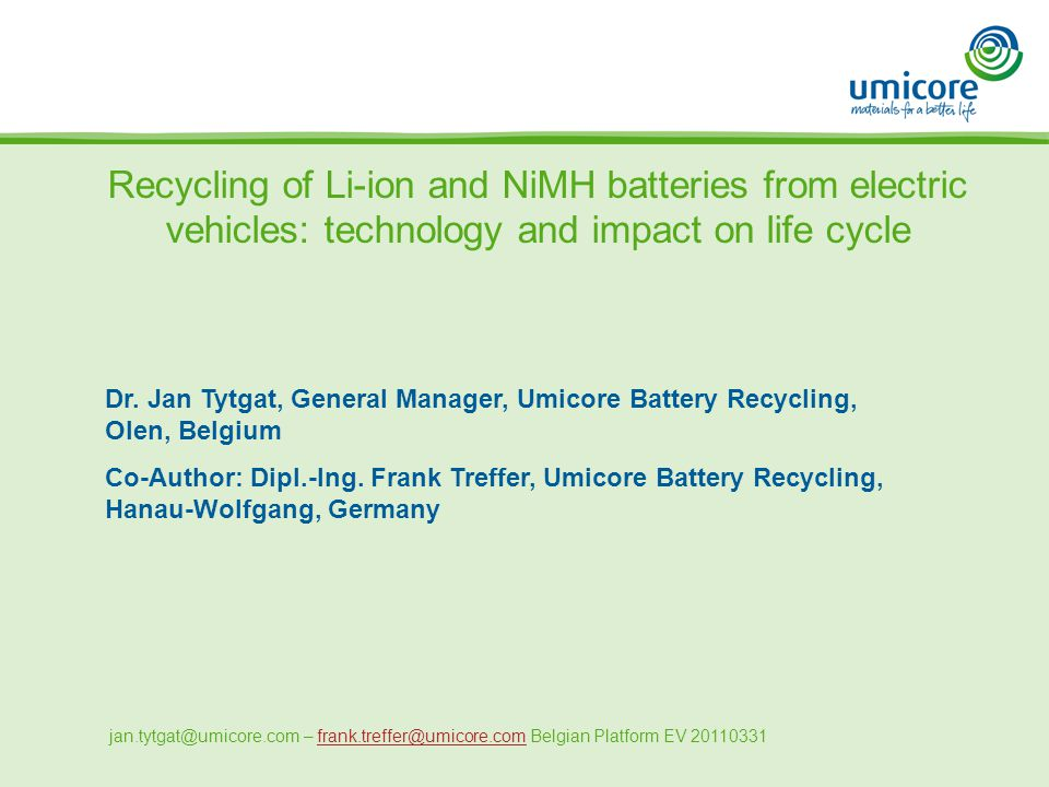 Recycling Of Li Ion And Nimh Batteries From Electric Vehicles Technology Impact On