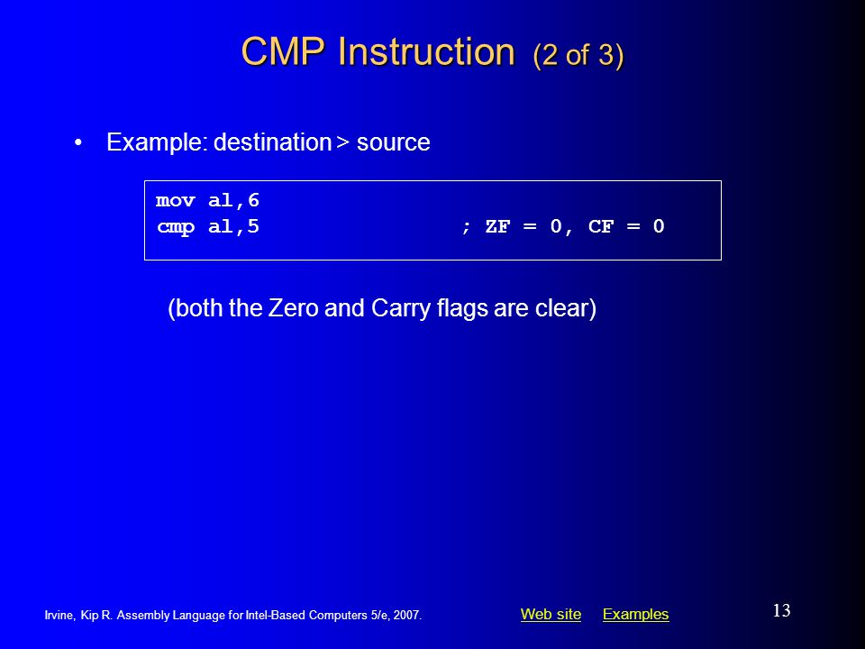 CMP Instruction (2 of 3) Example: destination > source