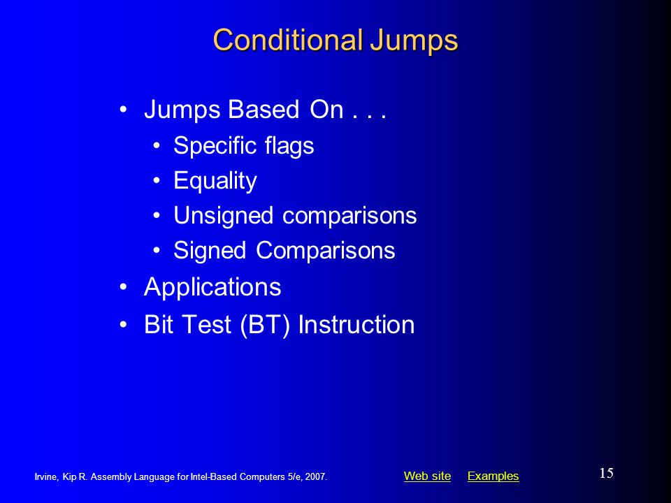 Conditional Jumps Jumps Based On Applications