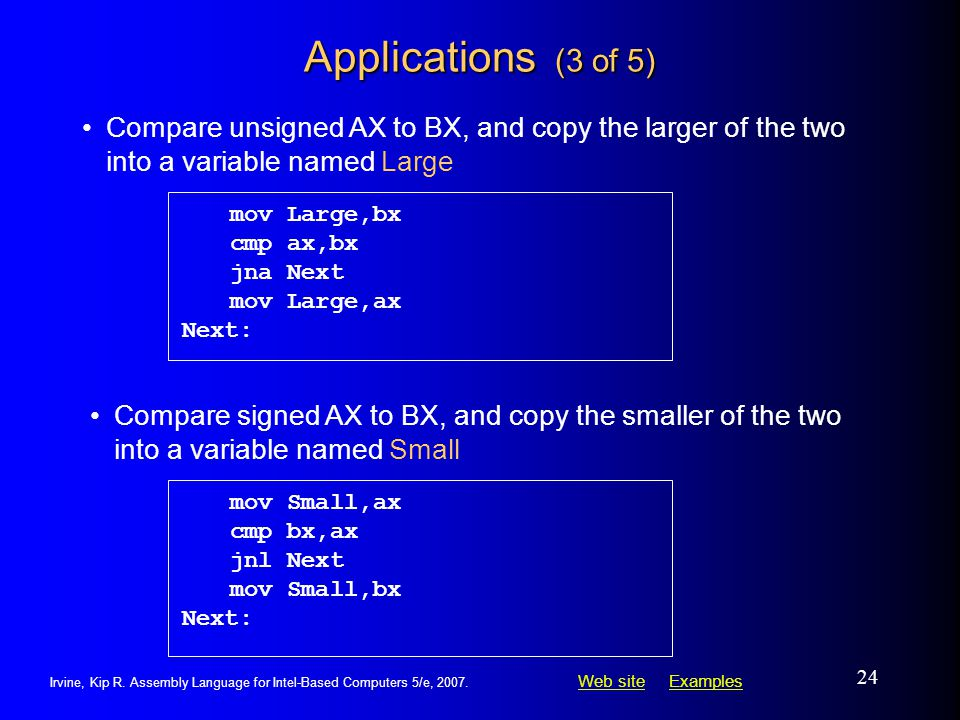 Applications (3 of 5) mov Large,bx. cmp ax,bx. jna Next. mov Large,ax. Next: