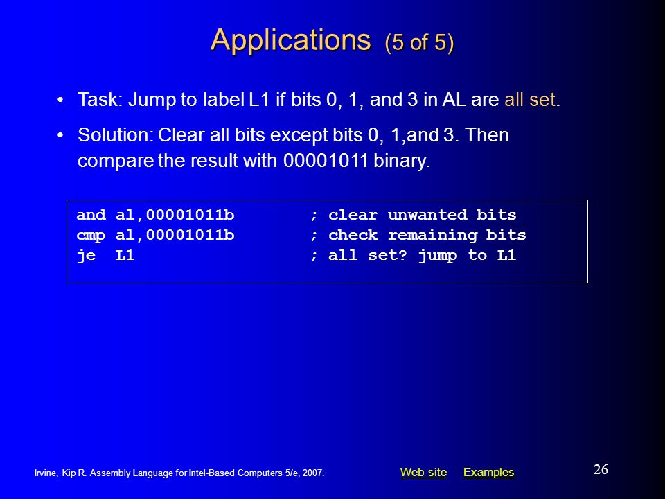 Applications (5 of 5) Task: Jump to label L1 if bits 0, 1, and 3 in AL are all set.