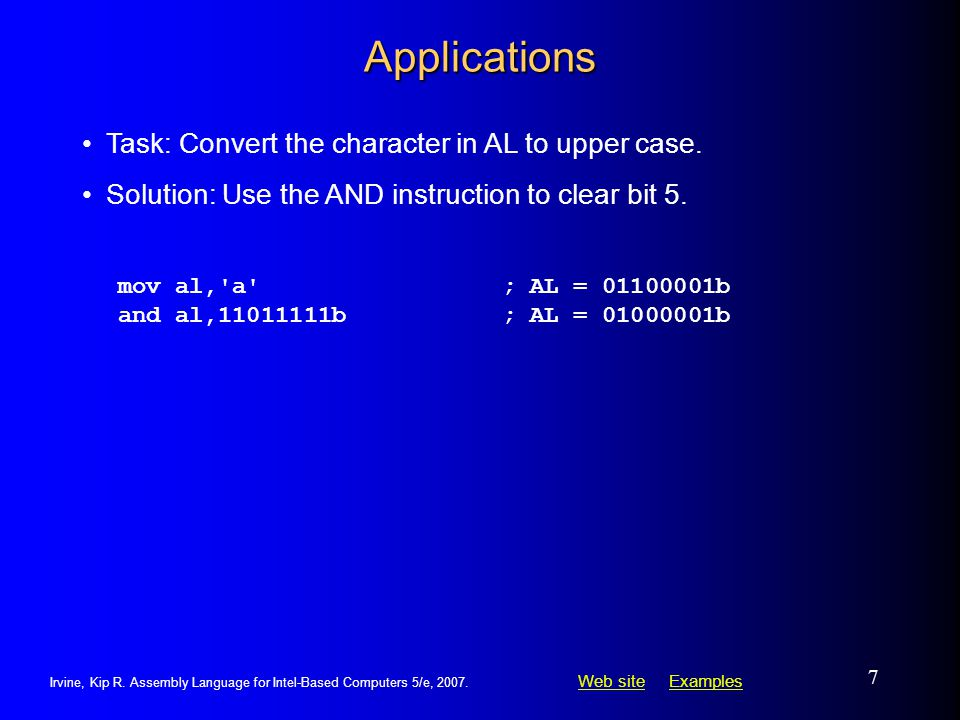 Applications Task: Convert the character in AL to upper case.